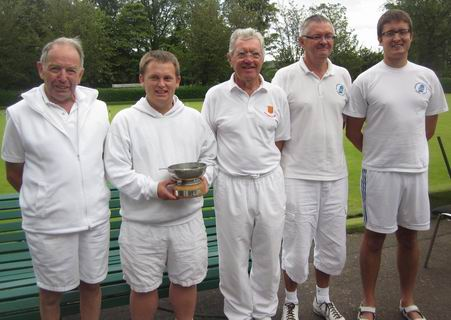 The victorious CA team (minus Jonathan Hills) with the Glasgow Quaich: from left to right Neil Kellett, Jack Wicks, Derek Watts, Dennis Scarr and Phill Scarr