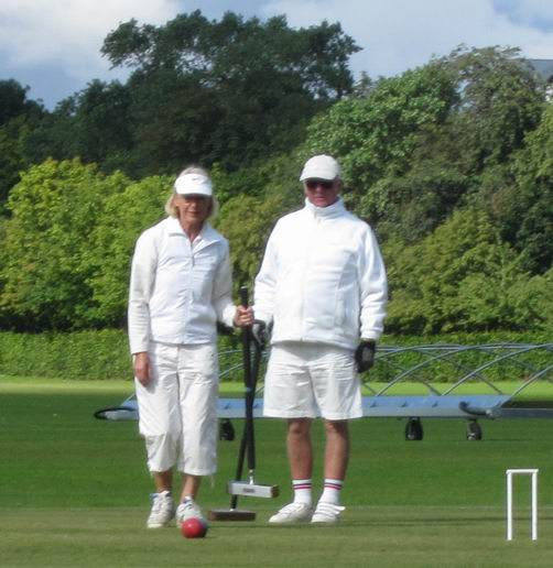 Janice and Hamish Duguid consider their next shot in the doubles